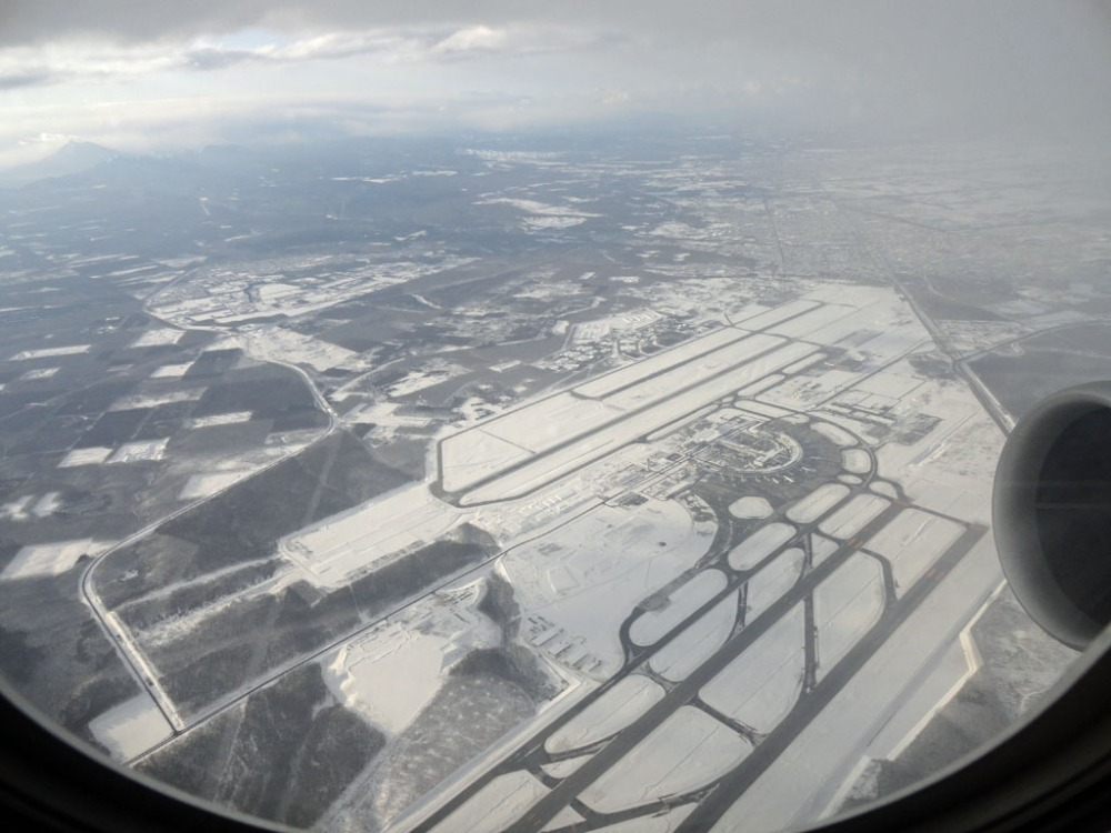 Landing at Chitose Airport in Sapporo
